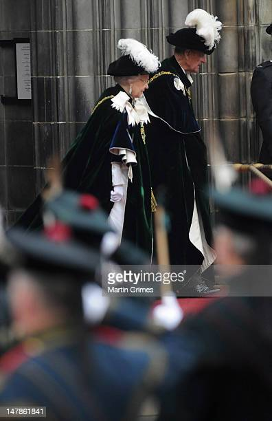 Queen Elizabeth II and Prince Philip, Duke of Edinburgh attend the Thistle Service for the installation of The Prince William, Earl of Strathearn, as...