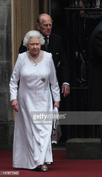 Queen Elizabeth II and Prince Philip, Duke of Edinburgh attend the Thistle Service for the installation of Prince William, who also has the title of...