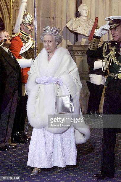 Queen Elizabeth II and Prince Philip Duke of Edinburgh attend the State Opening of Parliament on December 06 2000 in London England