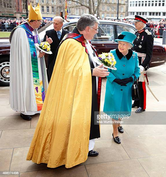 Queen Elizabeth II and Prince Philip Duke of Edinburgh attend the traditional Royal Maundy Service at Sheffield Cathedral on April 2 2015 in...