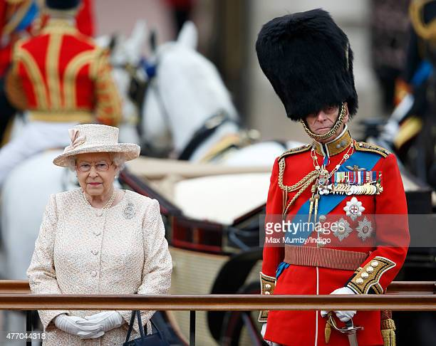 Queen Elizabeth II and Prince Philip Duke of Edinburgh attend Trooping the Colour on June 13 2015 in London England The ceremony is Queen Elizabeth...