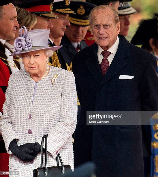 Queen Elizabeth II and Prince Philip Duke of Edinburgh attend the Official Ceremonial Welcome for the Chinese State Visit on October 20 2015 in...