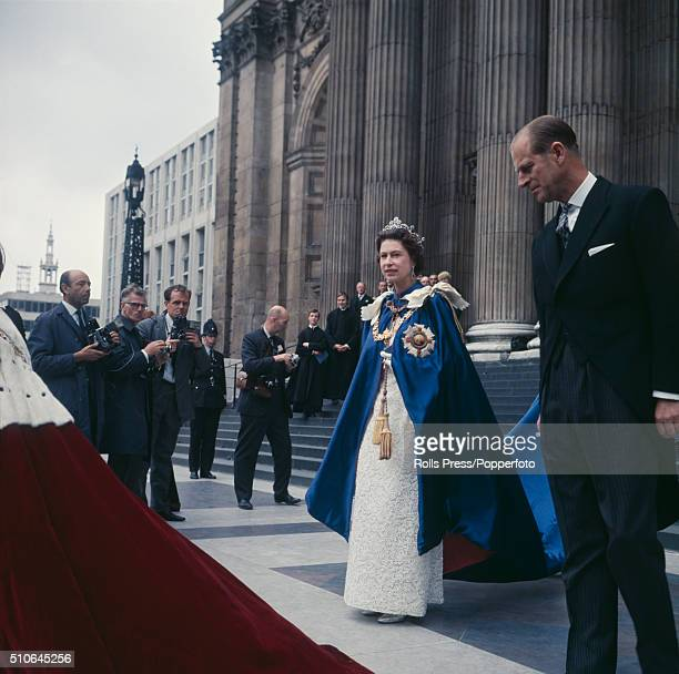 Queen Elizabeth II and Prince Philip Duke of Edinburgh attend the 150th anniversary service of the Order of St Michael and St George at St Paul's...