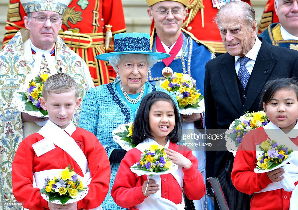 Queen Elizabeth II and Prince Philip, Duke Of Edinburgh attend the traditional Royal Maundy Service at Windsor Castle on March 24, 2016 in Windsor, England.