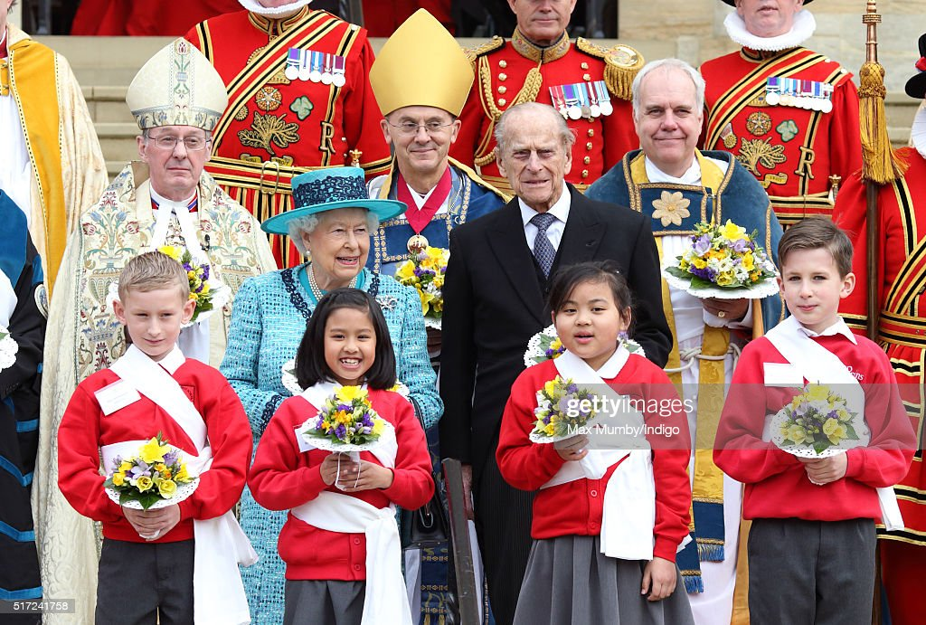 Queen Elizabeth II and Prince Philip, Duke of Edinburgh attend the traditional Royal Maundy Service at St George's Chapel, Windsor Castle on March 24, 2016 in Windsor, England.
