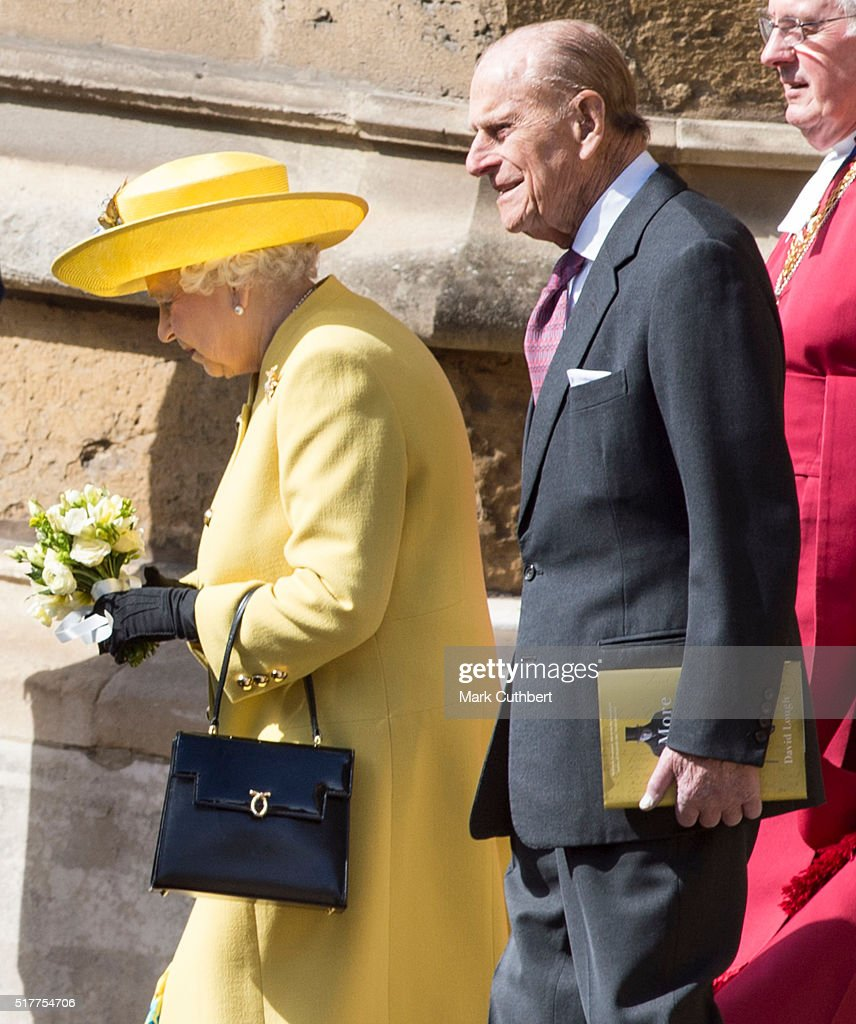 Queen Elizabeth II and Prince Philip, Duke of Edinburgh attend the Easter Sunday Service at St George's Chapel on March 27, 2016 in Windsor, England.