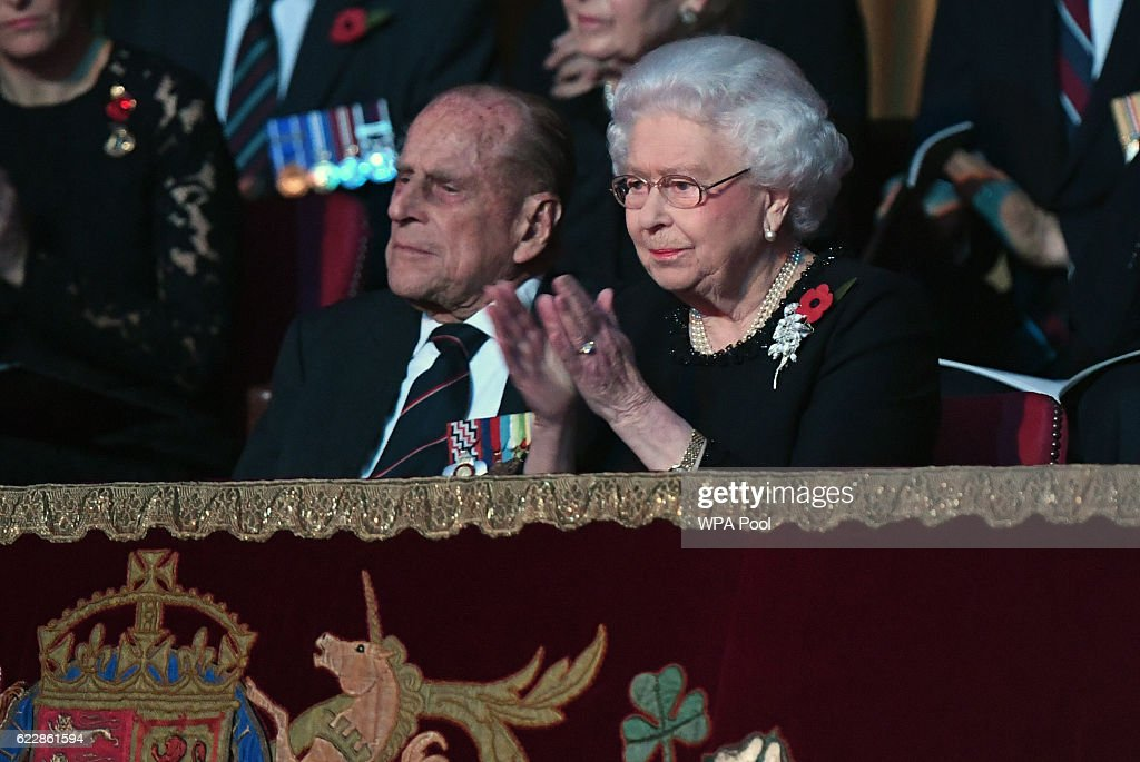 Queen Elizabeth II and Prince Philip, Duke of Edinburgh attend the annual Royal Festival of Remembrance at the Royal Albert Hall on November 12, 2016 in London, England.