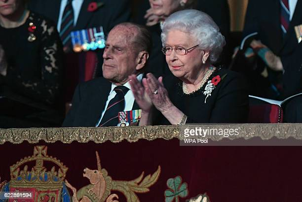 Queen Elizabeth II and Prince Philip Duke of Edinburgh attend the annual Royal Festival of Remembrance at the Royal Albert Hall on November 12 2016...