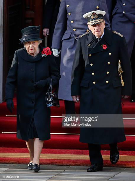 Queen Elizabeth II and Prince Philip Duke of Edinburgh attend the annual Remembrance Sunday Service at the Cenotaph on Whitehall on November 13 2016...
