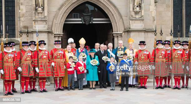Queen Elizabeth II and Prince Philip Duke of Edinburgh attend the Royal Maundy service at Leicester Cathedral on April 13 2017 in Leicester England...