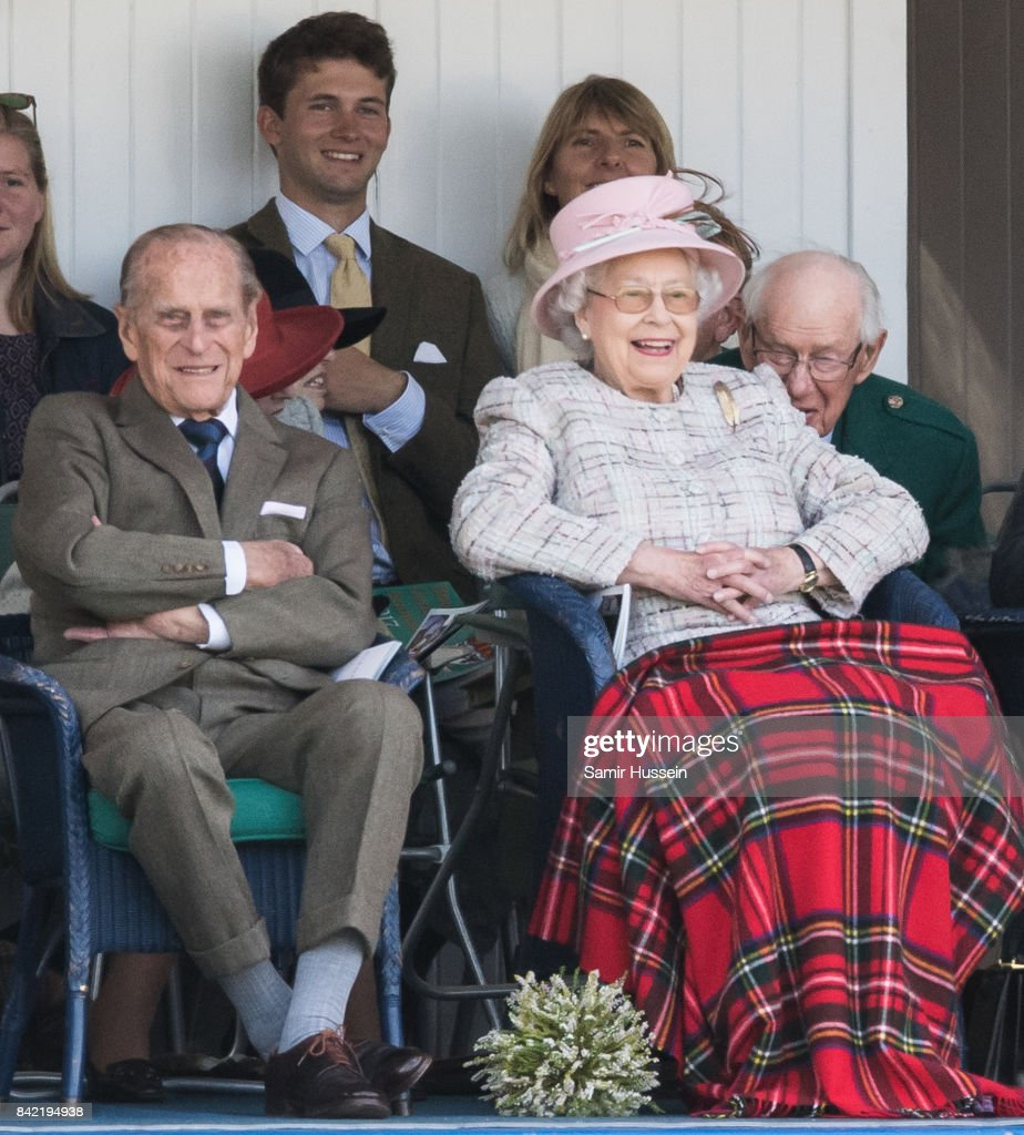 Queen Elizabeth II and Prince Philip, Duke of Edinburgh attend the 2017 Braemar Highland Gathering at The Princess Royal and Duke of Fife Memorial Park on September 2, 2017 in Braemar, Scotland.