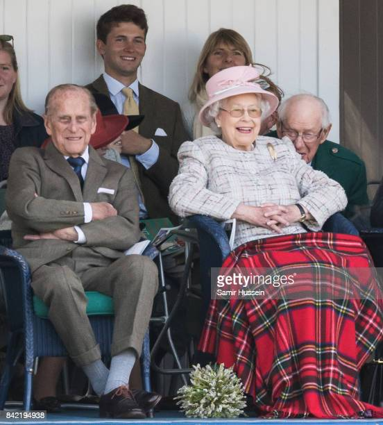 Queen Elizabeth II and Prince Philip Duke of Edinburgh attend the 2017 Braemar Highland Gathering at The Princess Royal and Duke of Fife Memorial...