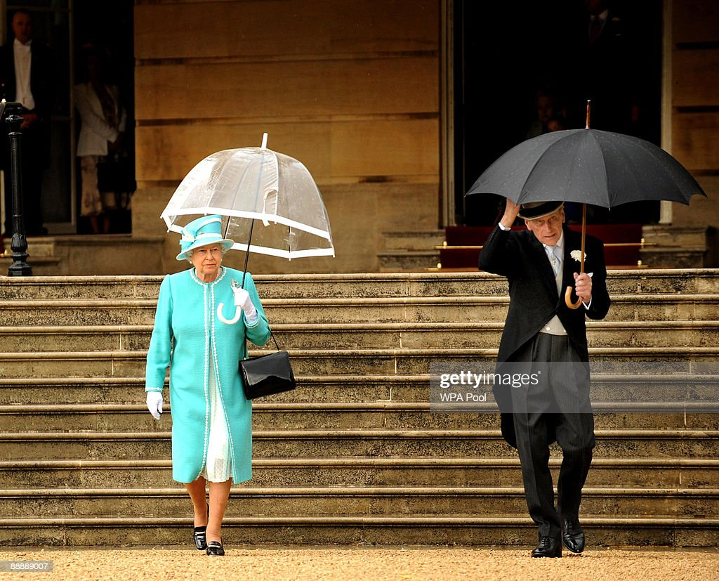 Queen Elizabeth II and Prince Philip, Duke of Edinburgh attend the first Royal Garden Party of the summer at Buckingham Palace on July 7, 2009 in London, England.
