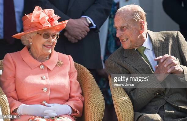 Queen Elizabeth II and Prince Philip Duke of Edinburgh attend The OUTSOURCING Inc Royal Windsor Cup 2018 polo match at Guards Polo Club on June 24...