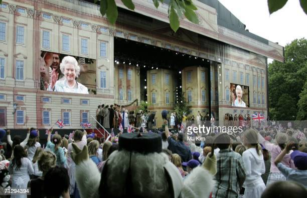 Queen Elizabeth II and Prince Philip Duke of Edinburgh attending the Children's Garden Party as part of the Queens 80th Birthday celebrations at the...