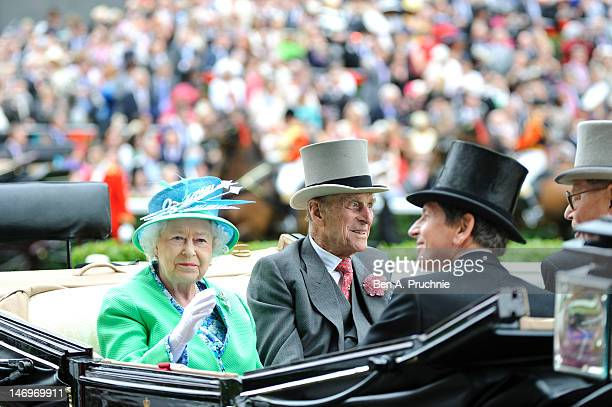 Queen Elizabeth II and Prince Philip Duke of Edinburgh attends day five of Royal Ascot at Ascot Racecourse on June 23 2012 in Ascot England
