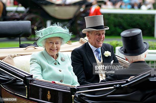 Queen Elizabeth II and Prince Philip, Duke of Edinburgh attends Ladies Day during Royal Ascot at Ascot Racecourse on June 21, 2012 in Ascot, England.