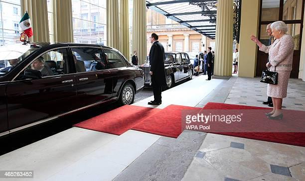 Queen Elizabeth II and Prince Philip Duke of Edinburgh bid farewell to Mexican President Enrique Pena Nieto and Mexico's First Lady Angelica Rivera...