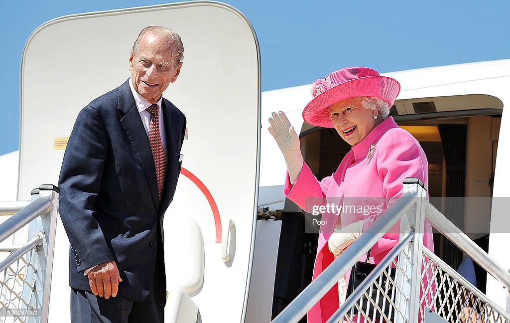 Queen Elizabeth II and Prince Philip, Duke of Edinburgh board a plane on October 26, 2011 in Melbourne, Australia. The Queen and Duke of Edinburgh are on a 10-day visit to Australia and will travel to Canberra, Brisbane, and Melbourne before heading to Perth for the Commonwealth Heads of Government meeting. This is the Queen's 16th official visit to Australia.