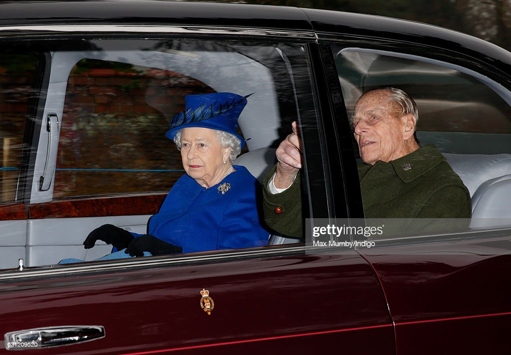 Queen Elizabeth II and Prince Philip, Duke of Edinburgh depart after attending the Sunday service at St Mary Magdalene Church, Sandringham on January 8, 2017 in King's Lynn, England. The Queen missed services on Christmas Day and New Year's Day after suffering a heavy cold.