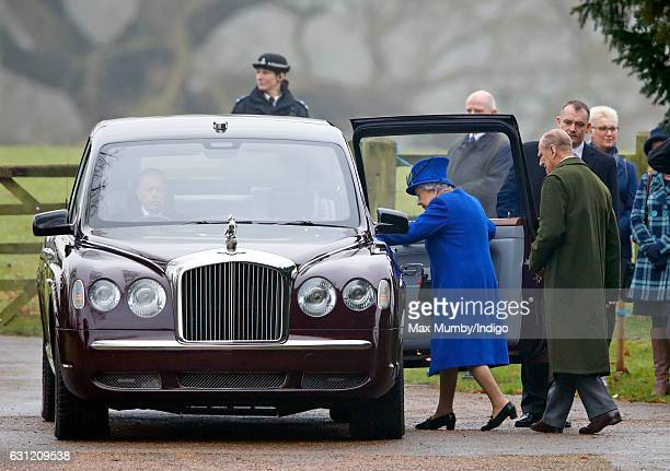 Queen Elizabeth II and Prince Philip, Duke of Edinburgh depart after attending the Sunday service at St Mary Magdalene Church, Sandringham on January...