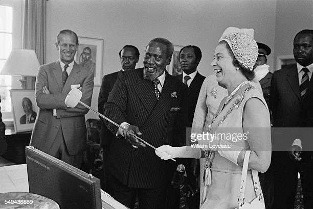 Queen Elizabeth II and Prince Philip Duke of Edinburgh during a visit to the President of Kenya Jomo Kenyatta Kenya 1972