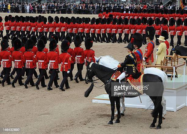 Queen Elizabeth II and Prince Philip Duke of Edinburgh during the Trooping Of The Colour at Horse Guards Parade on June 16 2012 in London England