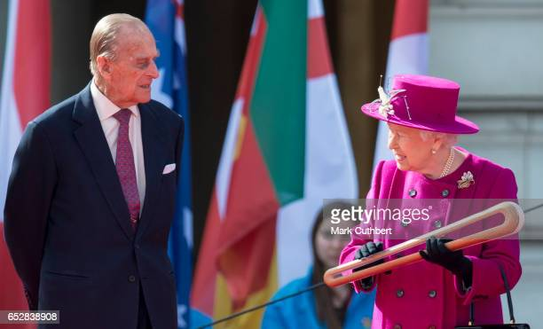 Queen Elizabeth II and Prince Philip Duke of Edinburgh during the launch of The Queen's Baton Relay for the XXI Commonwealth Games being held on the...