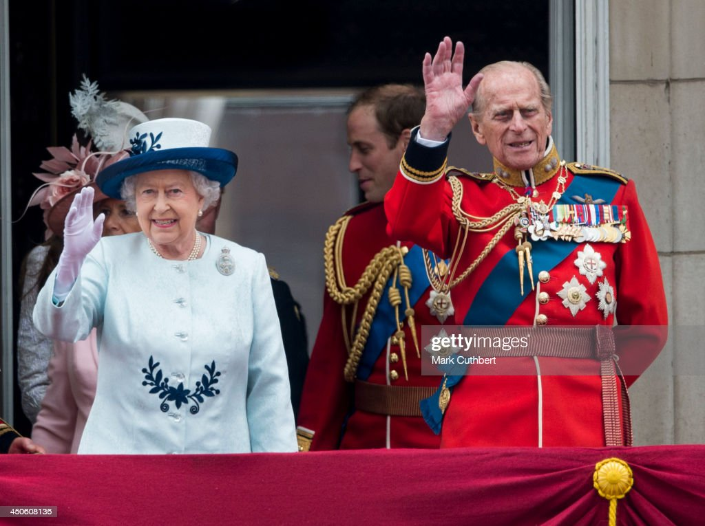 Queen Elizabeth II and Prince Philip, Duke of Edinburgh during Trooping the Colour at The Royal Horseguards on June 14, 2014 in London, England.