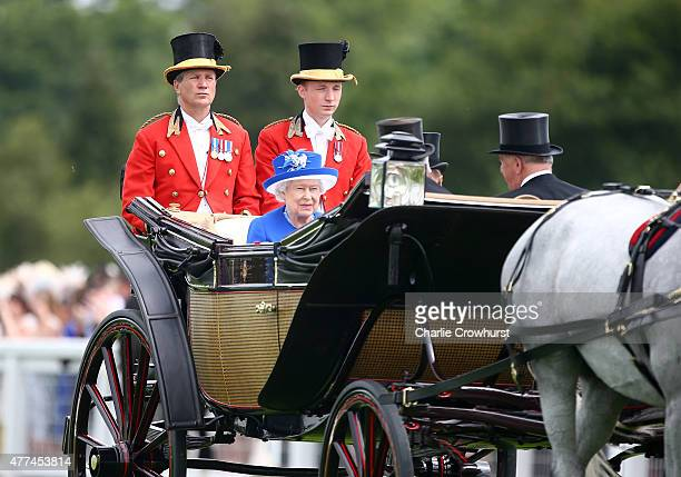 Queen Elizabeth II and Prince Philip Duke of Edinburgh during the Royal Procession on day 2 of Royal Ascot 2015 at Ascot racecourse on June 17 2015...