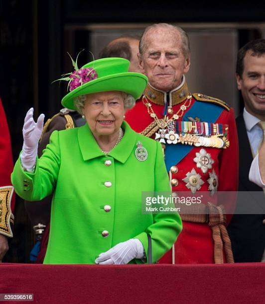 Queen Elizabeth II and Prince Philip, Duke of Edinburgh during the Trooping the Colour, this year marking the Queen's 90th birthday at The Mall on...