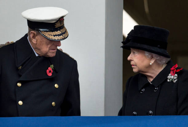 Queen Elizabeth II and Prince Philip Duke of Edinburgh during the annual Remembrance Sunday memorial on November 12 2017 in London England The Prince...