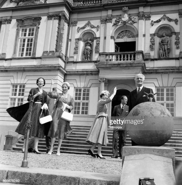 Queen Elizabeth II and Prince Philip Duke of Edinburgh during their state visit to Denmark Pictured at Hermitage Hunting Lodge Princess Margrethe...