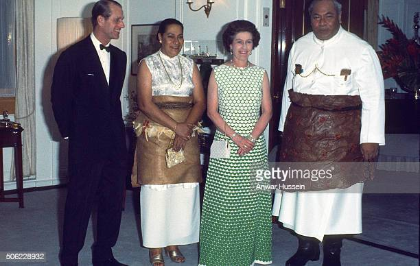 Queen Elizabeth II and Prince Philip Duke of Edinburgh entertain King Taufa'ahau Tupou IV and Queen Halaevalu Mata'aho 'Ahome'e of Tonga on the Royal...