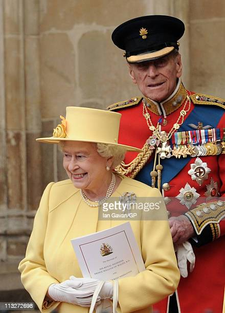 Queen Elizabeth II and Prince Philip Duke of Edinburgh exit Westminster Abbey after the Royal Wedding of Prince William to Catherine Middleton on...