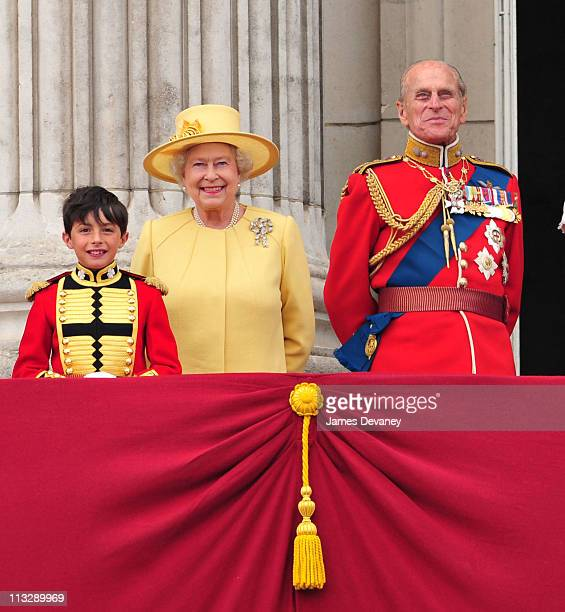 Queen Elizabeth II and Prince Philip Duke of Edinburgh greet crowd of admirers from the balcony of Buckingham Palace on April 29 2011 in London...