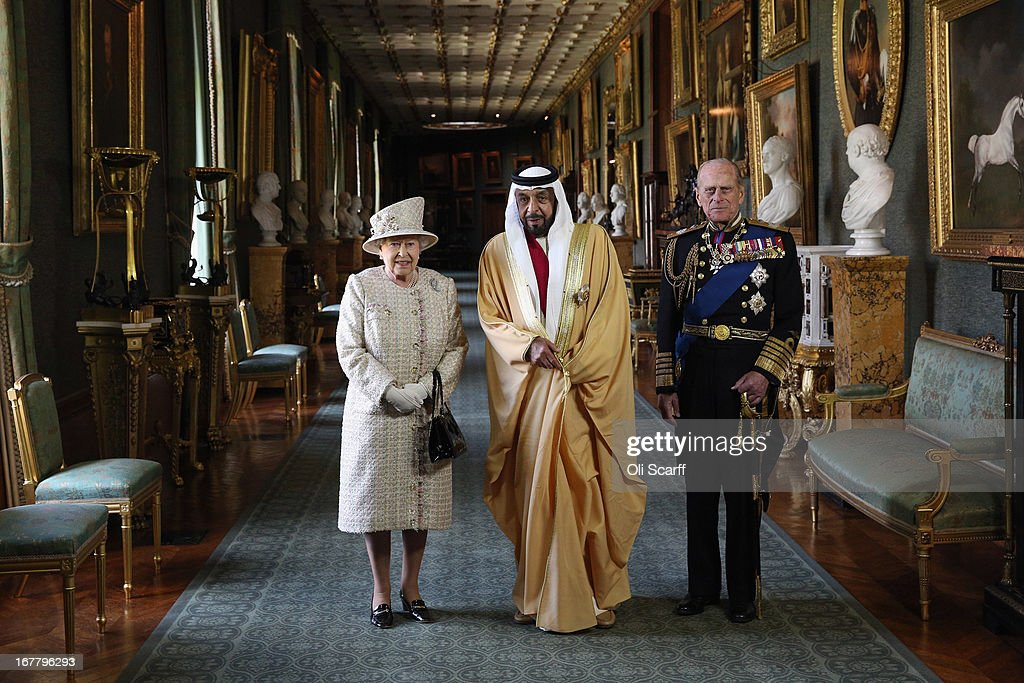 Queen Elizabeth II (L) and Prince Philip, Duke of Edinburgh (R), greet The President of the United Arab Emirates, His Highness Sheikh Khalifa bin Zayed Al Nahyan (C), in Windsor Castle on April 30, 2013 in Windsor, England. The President of the United Arab Emirates is paying a two-day State Visit to the United Kingdom, staying in Windsor Castle as the guest of Her Majesty The Queen from April 30, 2013 to May 1, 2013. Sheikh Khalifa will meet the British Prime Minister David Cameron tomorrow at his Downing Street residence.