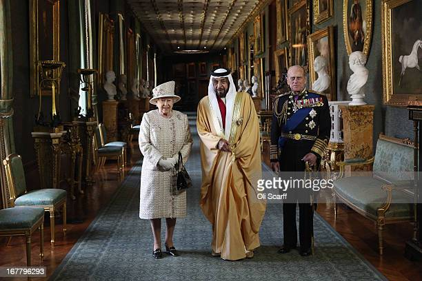 Queen Elizabeth II and Prince Philip Duke of Edinburgh greet The President of the United Arab Emirates His Highness Sheikh Khalifa bin Zayed Al...
