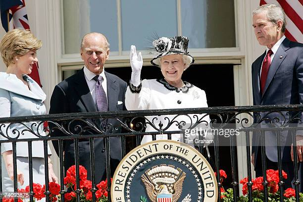 Queen Elizabeth II and Prince Philip, Duke of Edinburgh join President George W Bush and his wife Laura Bush on the balcony of the White House on the...