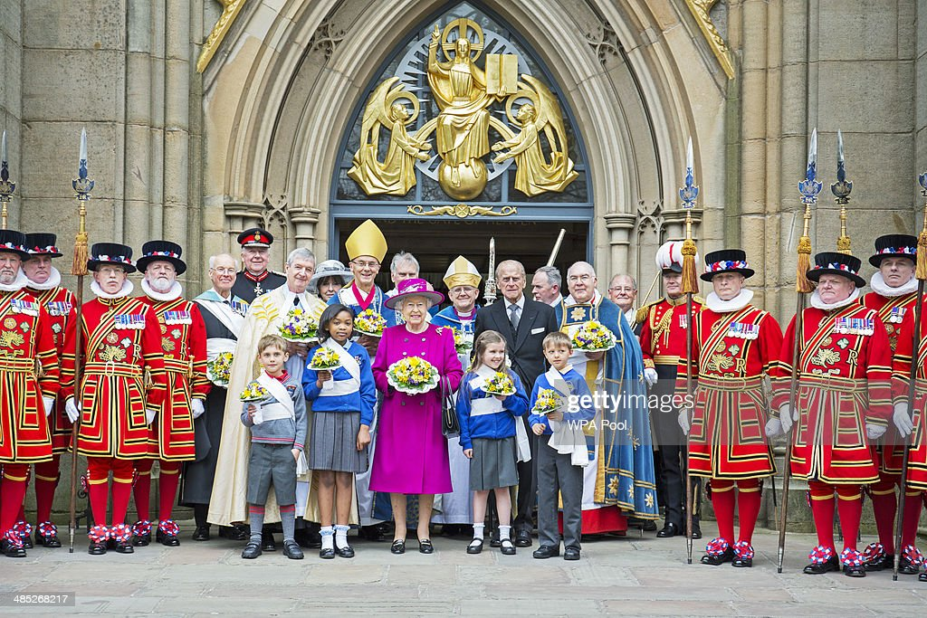 The Queen & Duke Of Edinburgh Attend Royal Maundy Service At Blackburn Cathedral : News Photo