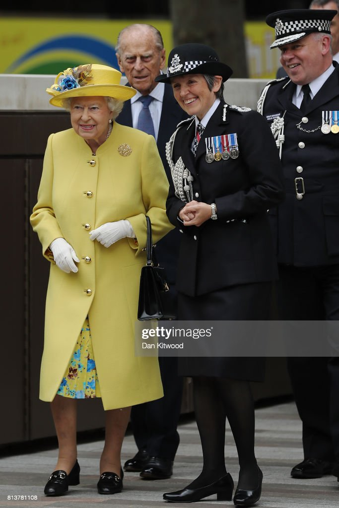 Queen Elizabeth II and Prince Philip, Duke of Edinburgh leave New Scotland Yard with Metropolitan Police commissioner Cressida Dick and Metropolitan Police Acting Commissioner, Craig Mackey on July 13, 2017 in London, England. The visit marked the opening of the new headquarters of the Metropolitan Police.