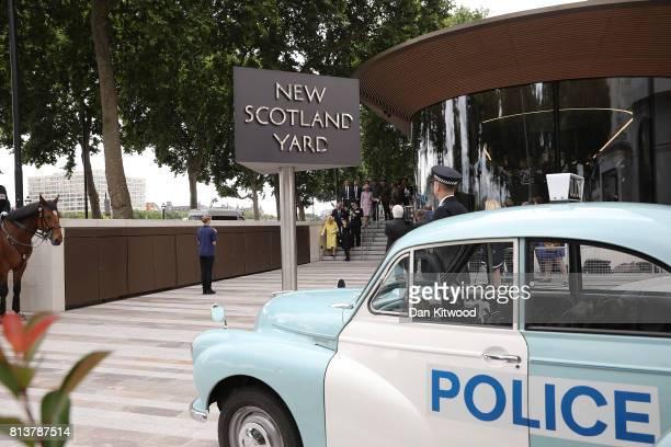 Queen Elizabeth II and Prince Philip Duke of Edinburgh leave New Scotland Yard with Metropolitan Police commissioner Cressida Dick and Metropolitan...