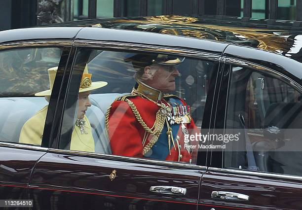 Queen Elizabeth II and Prince Philip, Duke of Edinburgh leave Buckingham Palace as they make their way to the Royal Wedding of Prince William to...