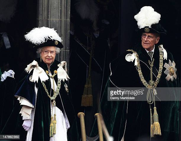 Queen Elizabeth II and Prince Philip, Duke of Edinburgh leaves St Giles Cathederal after the Thistle Ceremony on July 5, 2012 in Edinburgh, Scotland....