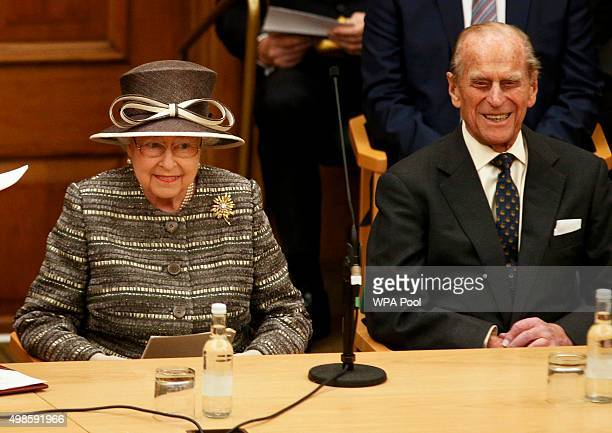 Queen Elizabeth II and Prince Philip Duke of Edinburgh listen to a speech by Archbishop of Canterbury Justin Welby during the Inauguration Of The...