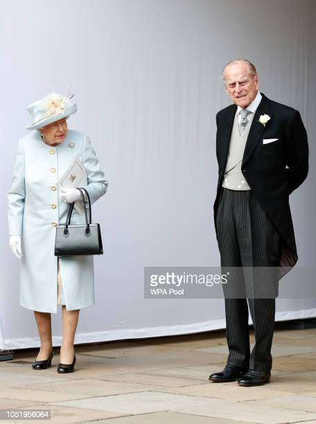 Queen Elizabeth II and Prince Philip Duke of Edinburgh look on after the wedding of Princess Eugenie of York and Mr Jack Brooksbank at St George's...