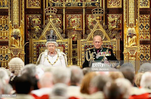 Queen Elizabeth II and Prince Philip Duke of Edinburgh look on in the House of Lords ahead of the Queen's Speech at the State Opening of Parliament...