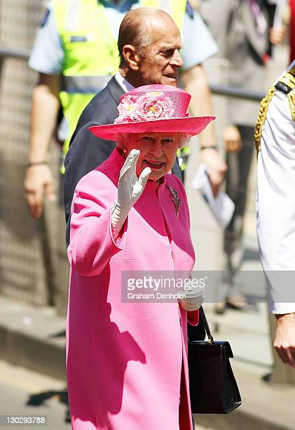 Queen Elizabeth II and Prince Philip, Duke of Edinburgh meet well-wishers as they visit Federation Square on October 26, 2011 in Melbourne,...