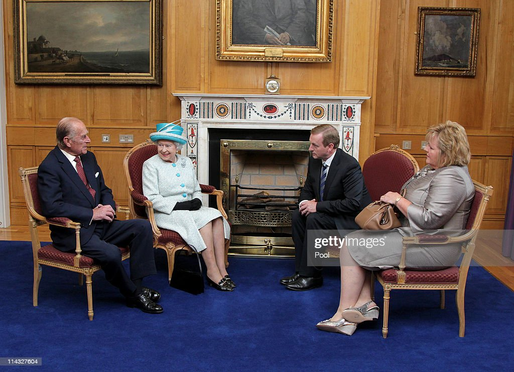 Queen Elizabeth II and Prince Philip, Duke of Edinburgh (L) meet Irish Prime Minister Enda Kenny (2nd L) and his wife Fionnuala Kenny during a visit to Government Buildings on Merrion Street on May 18, 2011 in Dublin, Ireland. The Duke and Queen's visit to Ireland is the first by a monarch since 1911. An unprecedented security operation is taking place with much of the centre of Dublin turning into a car free zone. Republican dissident groups have made it clear they are intent on disrupting proceedings.