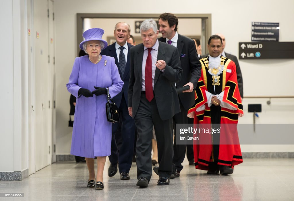 Queen Elizabeth II and Prince Philip, Duke of Edinburgh meet staff as they tour and open the new Royal London Hospital building and the new National Centre for Bowel Research and Surgical Innovation on February 27, 2013 in London, England.